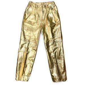 Vintage 💯% Leather Metallic Gold Pants
